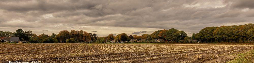 Foto van een akker aan de rand van het dorp Dalen. Het mais is al gehakseld; oktober 2019.