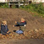 Spelen in de bladeren op het DoePlein