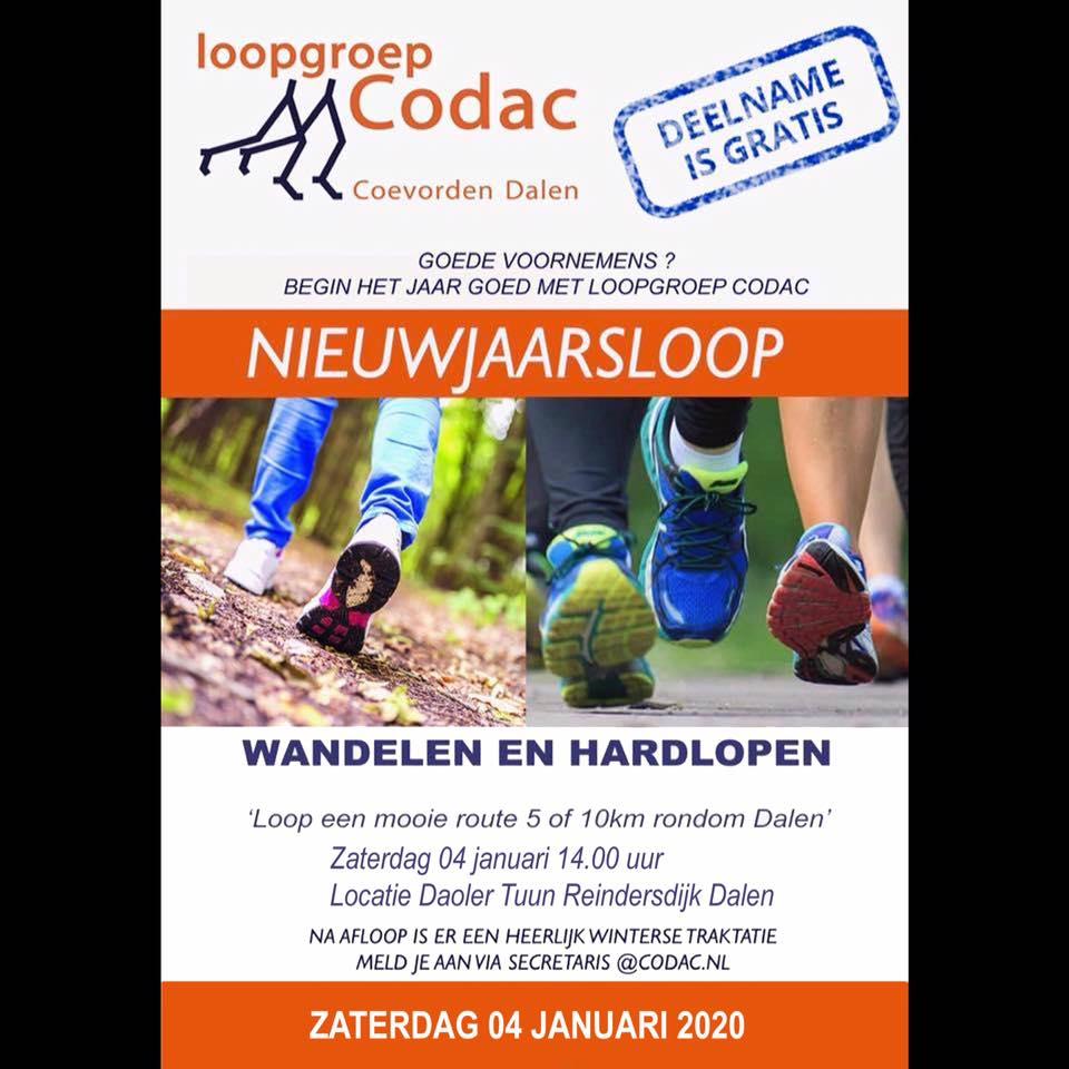 Flyer nieuwjaarsloop 2020 van CoDac vanuit de Daoler Tuun