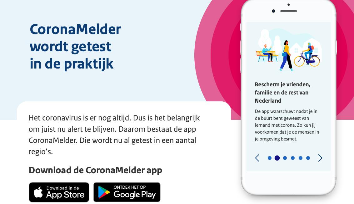 Afbeelding van de coronamelder app
