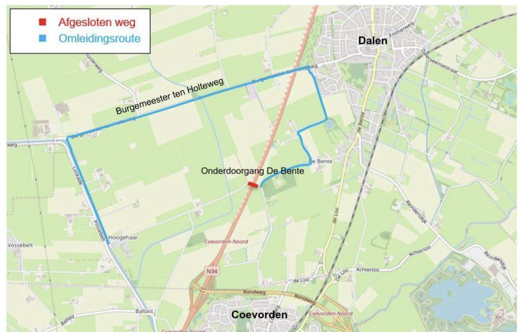 Kaart omleidingsroute via Burg. ten Holteweg