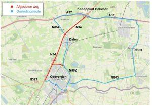 Kaart afsluiting Coevorden-Holsloot