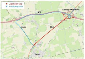 Kaart afsluiting Dalen-Holsloot
