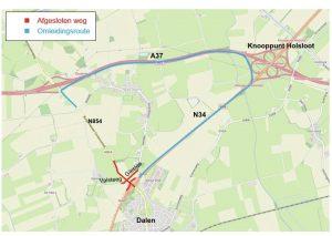 Kaart afsluiting Valsteeg en Giestee