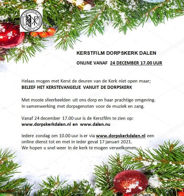 Flyer Dorpskerk Dalen met kerstfilm