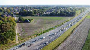 Luchtfoto N34 werkzaamheden
